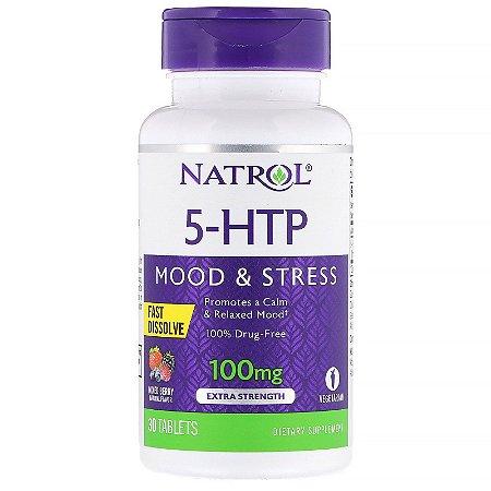 5-HTP 100mg Fast Dissolve Alta Absorção Natrol 30 Tablets Precursor da Serotonina