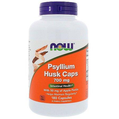 Psyllium 700mg Now Foods Com Fibra de Maçã P/ Saúde Intestinal 180 Cápsulas Para 6 Meses
