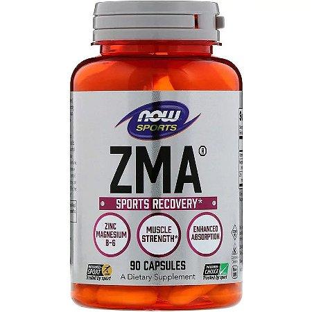 ZMA Now Foods Recuperação Esportiva Zinco Magnésio Vitamina B6 90 Cápsulas
