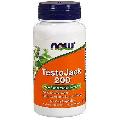 TestoJack 200 Now Foods Super Libido Melhor do Mercado P/ Aumentar a Testosterona Desempenho Energia Importado 60 Cápsulas