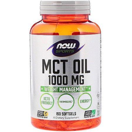 Óleo de Coco MCT Oil 1000mg Original Importado Now Foods 150 Softgels