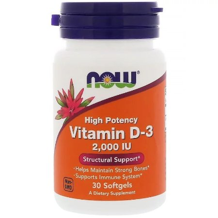 Vitamina D3 2.000ui Now Foods 30 Cápsulas Gelatinosas Importada Original Imunidade