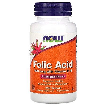 Ácido Fólico 800mcg Now Foods Importado Enriquecido C/ Vitamina B12 Pote 250 Tablets Para 8 Meses