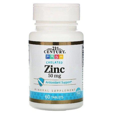 Zinco 50mg Quelato Importado Original 21st Century Imunidade Antioxidante Testosterona 60 Comprimidos