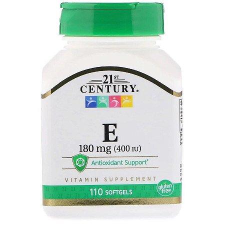 Vitamina E 400UI 180mg Importada Original 21st Century Antioxidante 110 Softgels