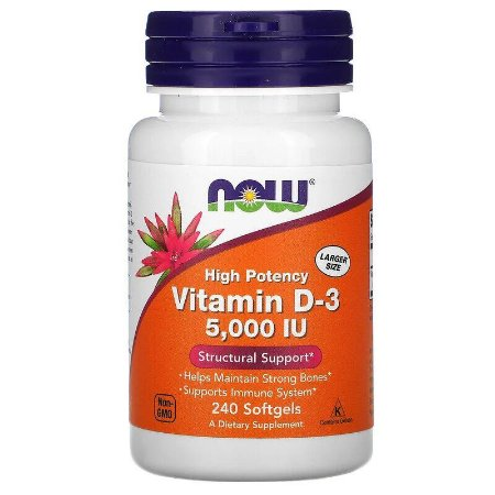Vitamina D3 5.000ui Now Foods Importada Original 240 Softgels Para 8 Meses