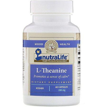 Theanina 200mg Ansiedade Relaxamento Estresse Foco Concentração Importada Nutra Life L-Teanina 60 Cápsulas