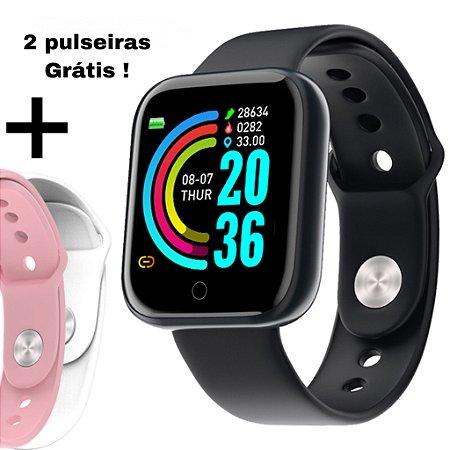 Relógio Smartwatch Fit Pro BLACK + 2 pulseiras de brinde