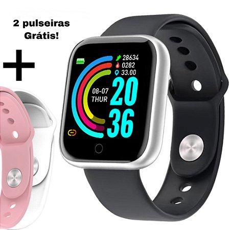 Relógio Smartwatch Fit Pro SILVER + 2 pulseiras de brinde