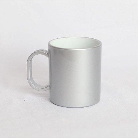Caneca Plástica Sublimação Premium - Prata