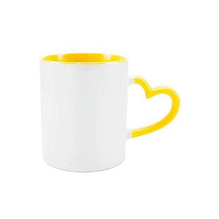 Caneca porcelana alça coração interior e alça - Amarela