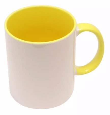Caneca porcelana interior e alça - Amarela