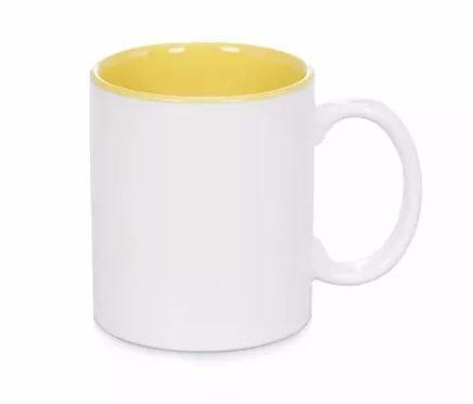 Caneca porcelana interior - Amarela