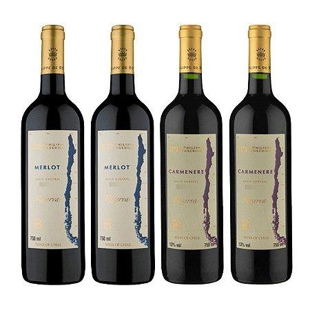 Kit 4 Vinhos Chilenos Baron Philippe de Rothschild Reserva 2 Carménère e 2 Merlot 750ml