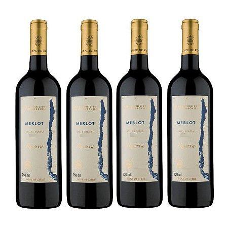 Kit 4 Vinhos Chilenos Baron Philippe de Rothschild Reserva Merlot 750ml