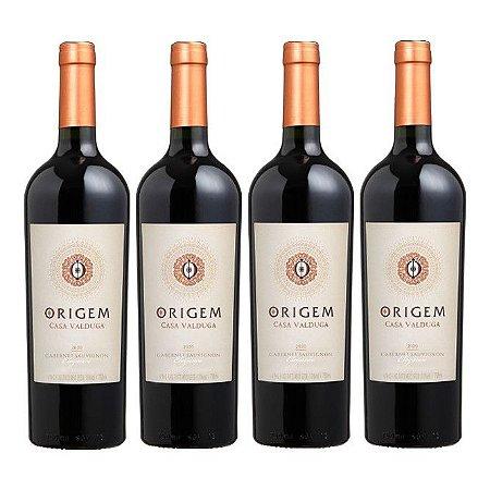 Kit 4 Vinhos Tinto Meio Seco Origem Elegance Cabernet Sauvignon Casa Valduga 750ml