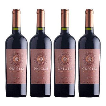 Kit 4 Vinhos Tinto Seco Origem Carménère Chile Casa Valduga 750ml