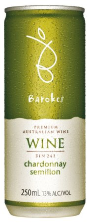Vinho australiano em lata Barokes Branco Chardonnay Semillon 250 ml
