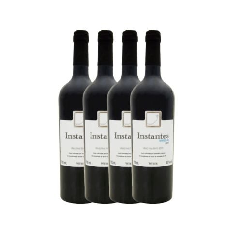 Kit 4 Vinhos Fino Tinto Seco Marselan Instantes Weber 750ml