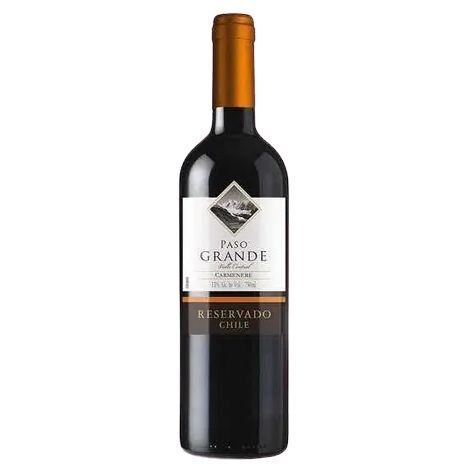 Vinho Chileno Fino Tinto Meio Seco Carménère Paso Grande Reservado 750ml