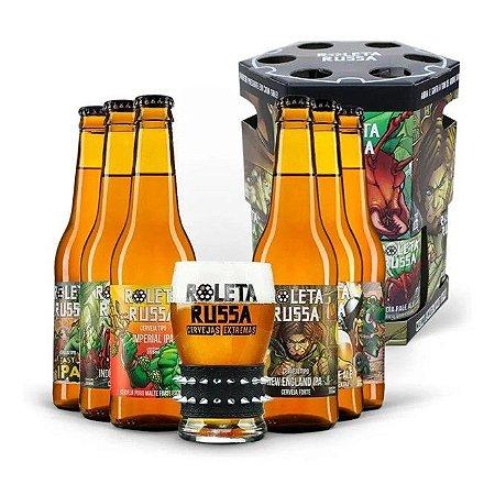 Kit Roleta Russa com 6 Cervejas 355ml 1 Copo 300ml e 1 Pulseira Spike