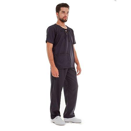 Pijama Cirúrgico com Ilhoses - Preto