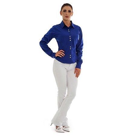 Camisa Gola Tradicional - Manga Curta - Azul