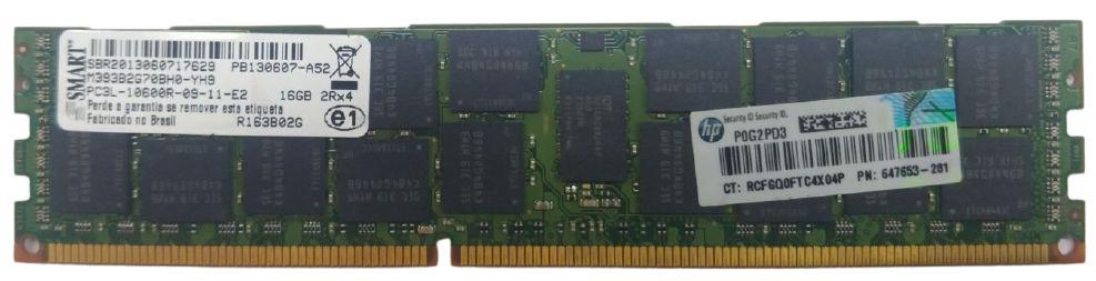 Lote 6 unidades de Memória 16gb para Servidor - Pc3l-10600r 2rx4 Ecc  Smart