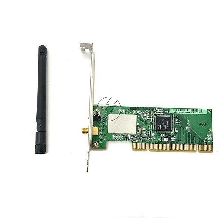 Placa de rede wireless PC LP-8185-MCS: PCI, 2,4 GHz P. alto