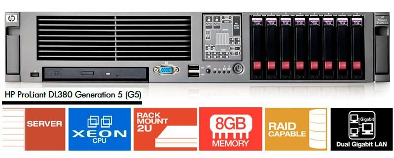Servidor Hp Proliant Dl380 G5 2 Xeon 8 Giga 2 Hd 146 Giga
