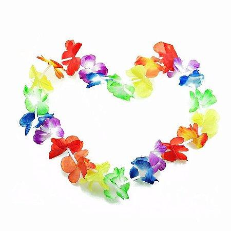 Colar Havaiano Multicolorido Tecido