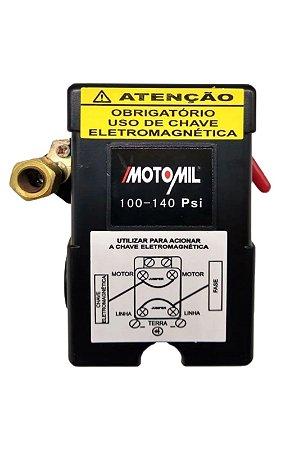 Pressostato Automatico 100/140lbs 4Vias C/Alavanca - MOTOMIL
