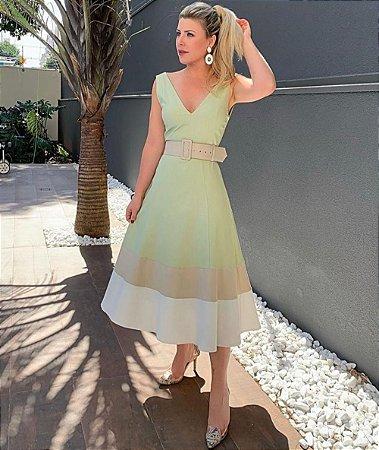 Vestido Bicolor Cor Bege + Cinto