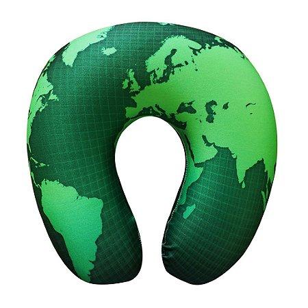 Almofada de Pescoço Mapa Mundi Verde