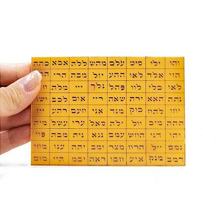 Placa Radiônica 72 Nomes de Deus em Hebraico (Gráfico em Cobre) Tam P