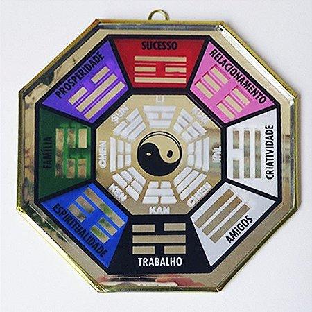 Baguá Espelhado para a Porta Feng Shui (Colorido) - Tam G
