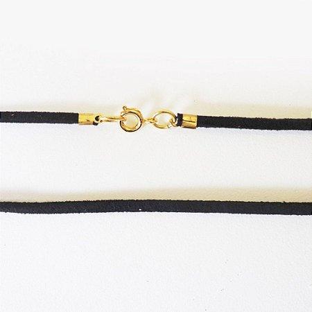 Cordão de Couro Preto (fecho banhado a Ouro 18k) - 70cm