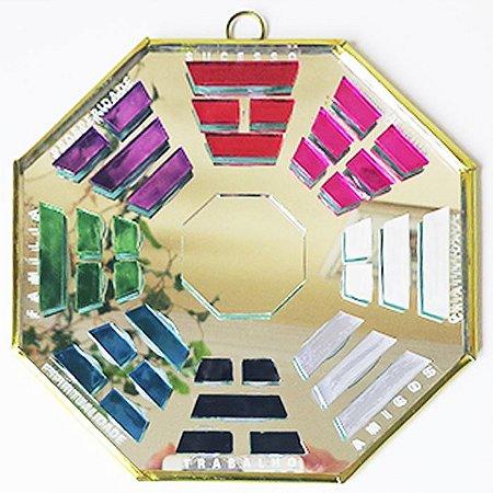 Baguá com Espelho para Porta Feng Shui (Colorido) - Tam G