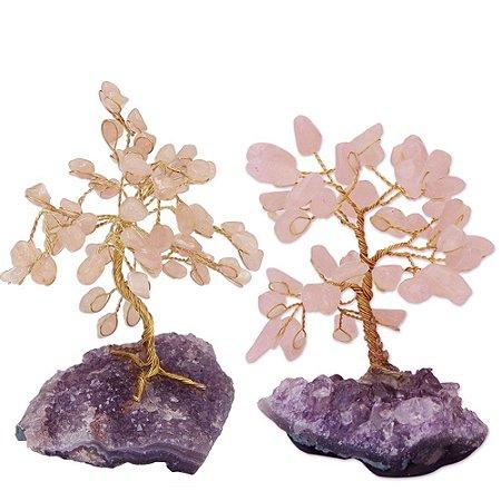 Conjunto 2 Árvores de Pedras Naturais do Amor (Quartzo Rosa com base de Ametista)