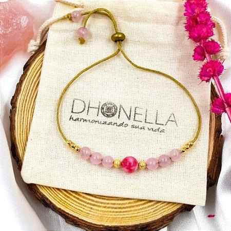 Pulseira Shambala Para Atrair o Amor (com Quartzo Rosa e Rodocrosita) - Pedras Naturais