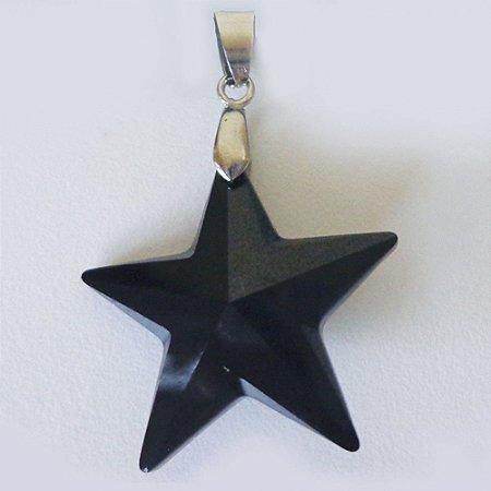 Gargantilha Pentagrama Cristal Swaroviski Negro 2cm