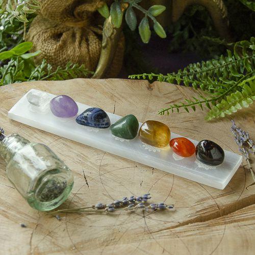 Conjunto Selenita Com Símbolos Dos Chakras + Pedras Dos Chakras