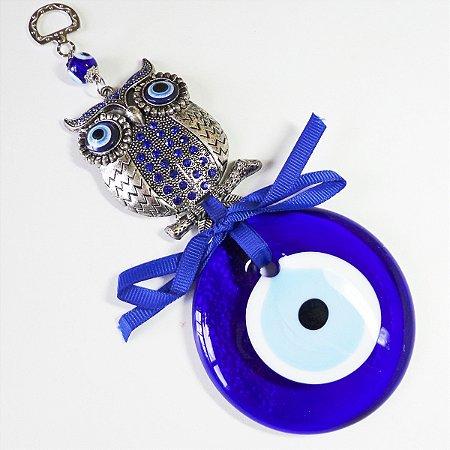 Amuleto Coruja Strass com Olho Grego GG