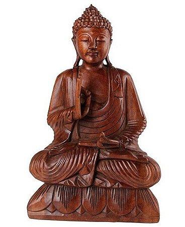 Buda Decorativo Esculpido em Madeira 50cm