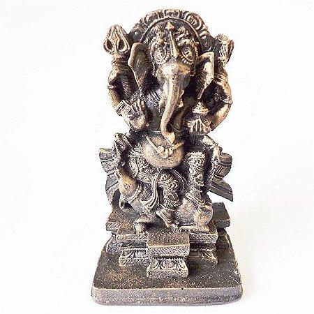 Estátua Ganesha Dourado Envelhecido