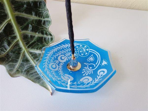 Incensário Vidro Pavão Azul
