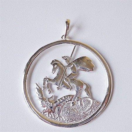 Pingente São Jorge Grande em Prata 925
