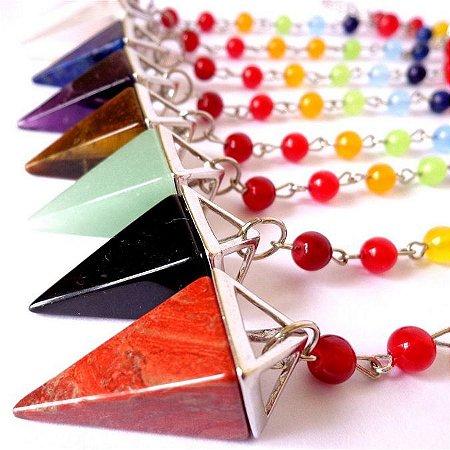 Pêndulo Pirâmide com Contas de Pedras Naturais