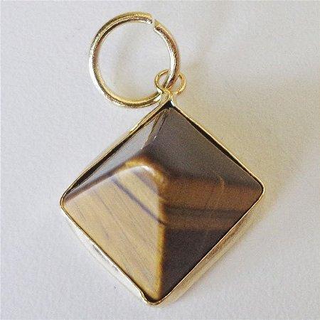 Pingente Piramide Pedra Natural Banho Ouro 18k
