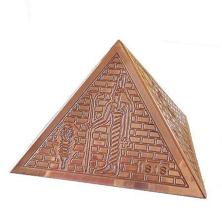 Pirâmide 10cm em Cobre com Ilustrações Egípcias